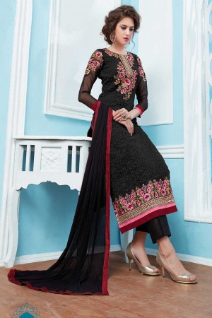 Black Georgette Embroidery Salwar Kameez