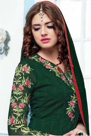 Turquoise Green Georgette Embroidery Salwar Kameez