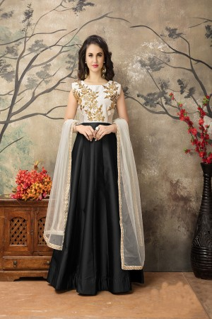 Black Taffeta Silk Embroidery Zari Work  Anarkali Suit