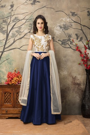 Navy Blue Taffeta Silk Embroidery Zari Work  Anarkali Suit