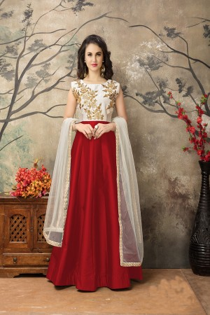 Red Taffeta Silk Embroidery Zari Work  Anarkali Suit