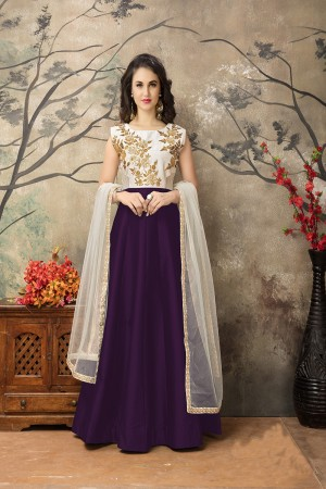 Wine Taffeta Silk Embroidery Zari Work  Anarkali Suit