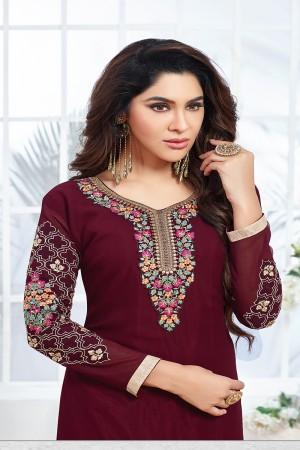 Wine Red Georgette Embroidery Salwar kameez