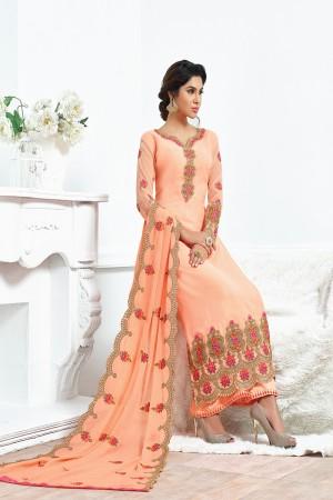 Light Orange Georgette Embroidery Salwar kameez