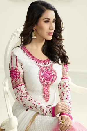 White&Pink Brasso Heavy Embroidery on Neck & Sleeve Salwar kameez