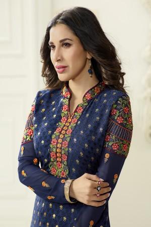 Blue Brasso Heavy Embroidery on Neck & Sleeve Salwar kameez