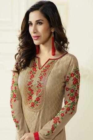 Beige Brasso Heavy Embroidery on Neck & Sleeve Salwar kameez