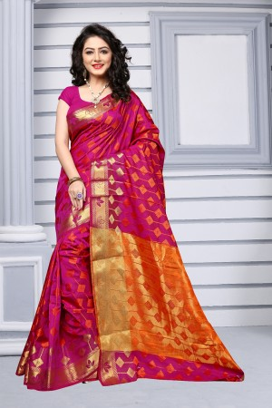 Rani Pink Silk Saree