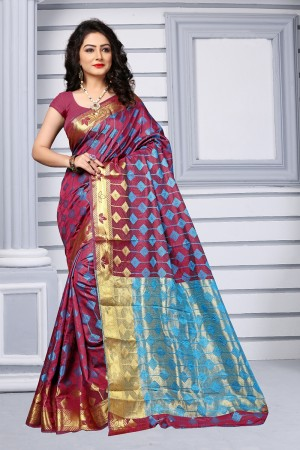 Wine Red Silk Saree