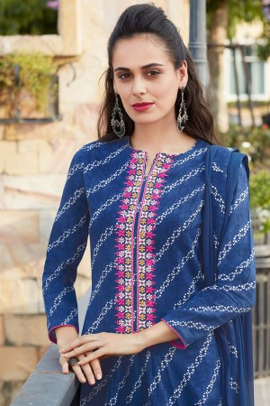 Blue Pure Cotton Print with Embroidery Dress material