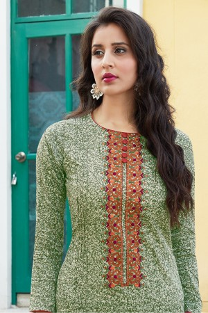 Green Pure Cotton Print with Embroidery Dress material