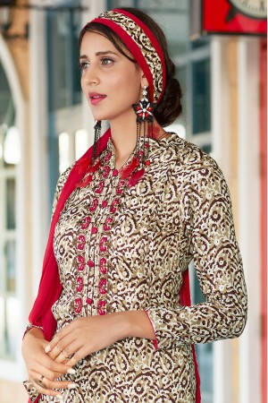 White Pure Cotton Print with Embroidery Dress material