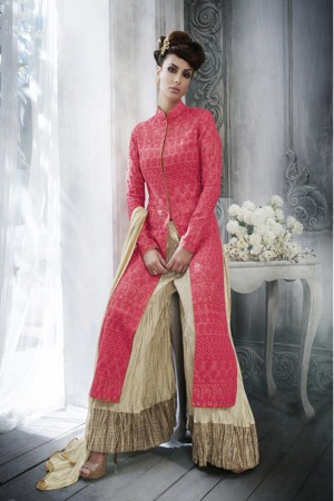 Red Tussar Silk  Heavy Multi Embroidery Top Salwar Kameez