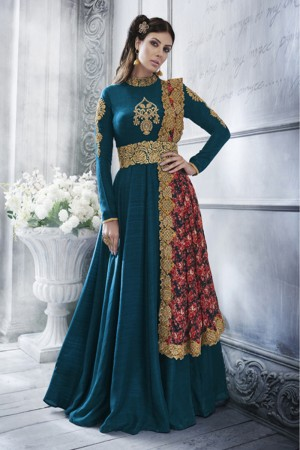 Morepeach Silk Heavy Embroidery Zari Work on Neck & Sleeve Tucked Belt Style Salwar Kameez