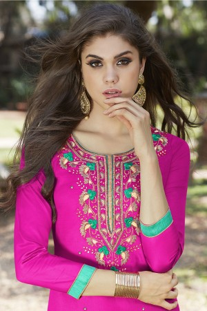 Rani Pink Jam Silk Embroidery with Hand Work Dress material