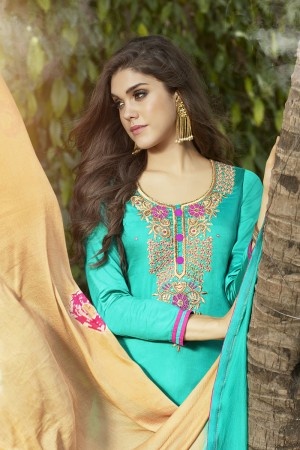 Sky Blue Jam Silk Embroidery with Hand Work Dress material