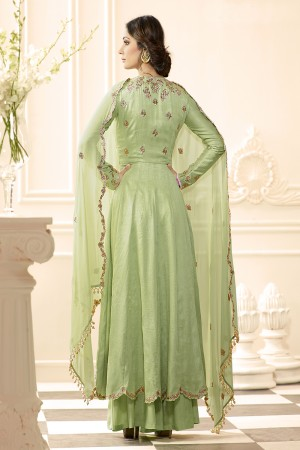 Light Green Raw Silk Heavy Embroidery Anarkali Suit
