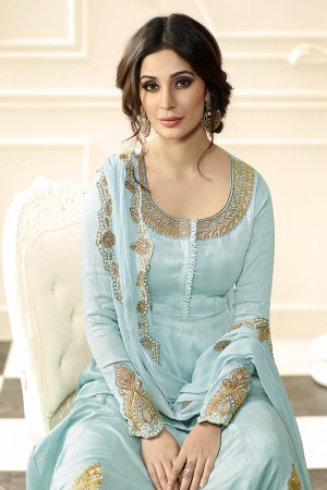 Sky Blue Raw Silk Heavy Embroidery Anarkali Suit