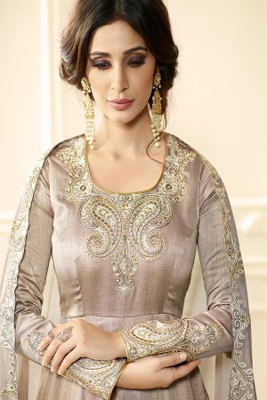 Coffee Raw Silk Heavy Embroidery Anarkali Suit