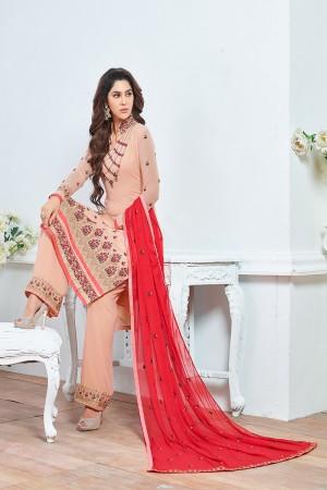 Beige Georgette Heavy Embroidery Salwar Kameez