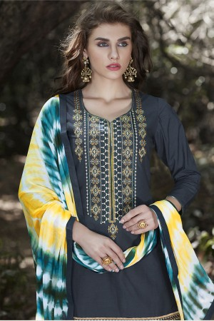 Dark Grey Cotton Heavy Embroidery Patiyala Suit