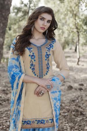 Beige Cotton Heavy Embroidery Patiyala Suit