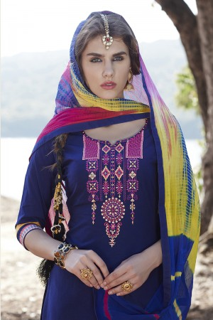 Navy Blue Cotton Heavy Embroidery Patiyala Suit