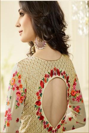 Cream Georgette Heavy Embroidery Anarkali Suit
