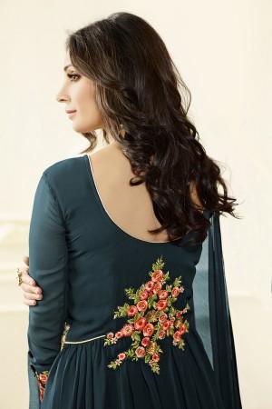 Dark Green Georgette Heavy Embroidery Anarkali Suit
