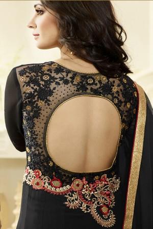 Black Georgette Heavy Embroidery Anarkali Suit