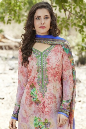 Multi Color Cotton Embroidery Neck with Digital Print Dress Material