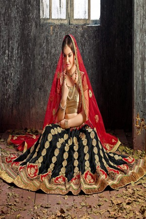 Graceful Black Jacquard Designer Heavy Embroidery Zari Work Lehenga Choli Lehenga Choli