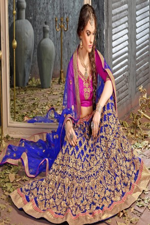 Beautiful Blue Jacquard Designer Heavy Embroidery Zari Work Lehenga Choli Lehenga Choli