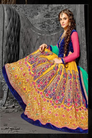 Modish Yellow Jacquard Designer Heavy Embroidery Zari Work Lehenga Choli Lehenga Choli