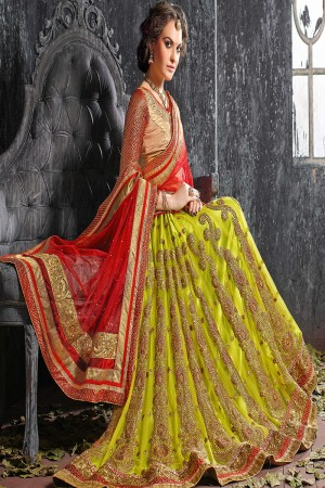 Royal Parrot green Jacquard Designer Heavy Embroidery Zari Work Lehenga Choli Lehenga Choli