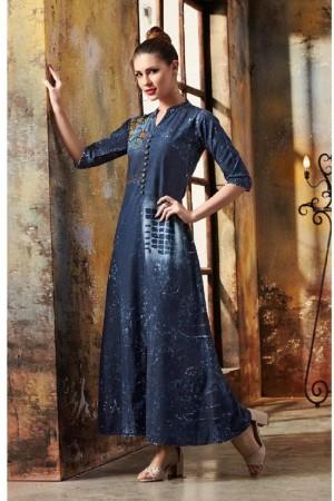 Ethnic Dark_blue Denim Printed Fancy Kurti