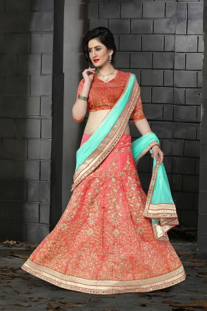 Ethnic Red Orange Silk Designer Heavy Embroidery Zari Work and Hand Work Lehenga Choli