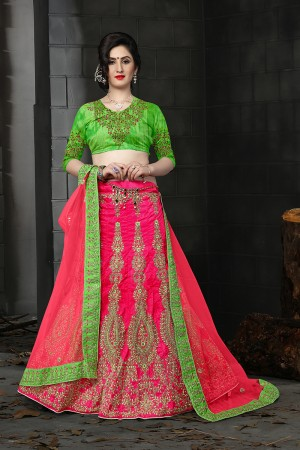 Ambitious Rani Pink Silk Designer Heavy Embroidery Zari Work and Hand Work Lehenga Choli