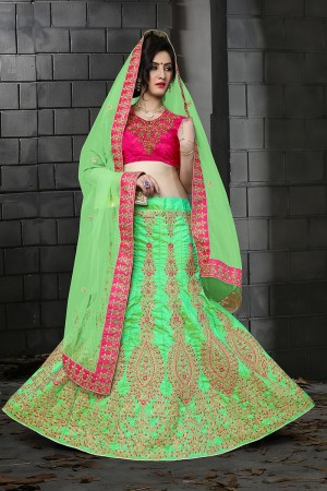 Astounding Light Green Silk Designer Heavy Embroidery Zari Work and Hand Work Lehenga Choli