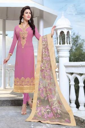 Mesmerising Pink Georgette Heavy Embroidery Work Salwar Kameez