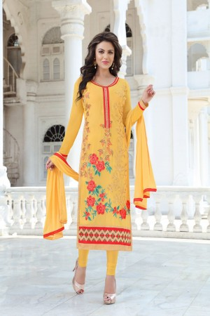 Auspicious Mustard Georgette Heavy Embroidery Work Salwar Kameez