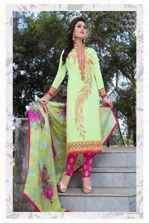 Appealing Lightgreen Georgette Heavy Embroidery Work Salwar Kameez