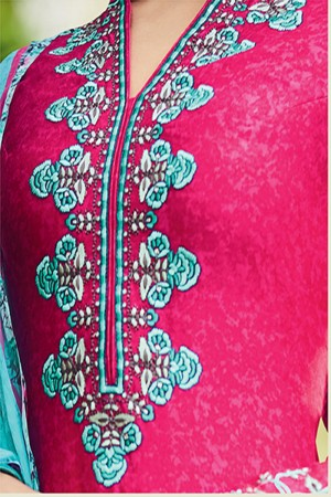 Eye catching RaniPink Pure Cotton Satin Heavy Embroidery with Digital Print Top Salwar Kameez