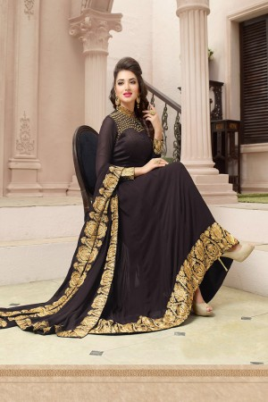Sensuous Dark Coffee Georgette Heavy Embroidery on Neck with Embroidery Dupatta Salwar Kameez