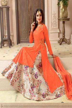 Glamorous Orange Georgette Heavy Embroidery Patch Work on Top with Digital Print Lehenga Salwar Kameez