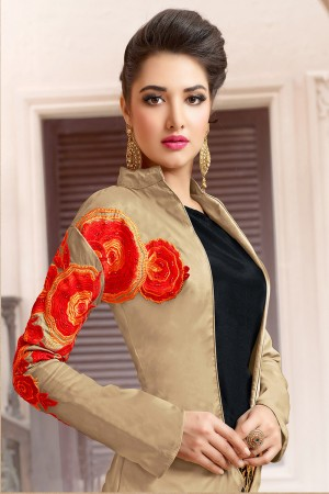 Beauteous Beige&Black Tafeta Silk Heavy Embroidery on Jacket with Embroidery Lehenga Salwar Kameez