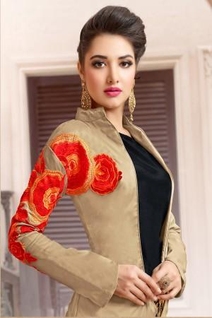 Beauteous Beige&Black Tafeta Silk Heavy Embroidery on Jacket with Embroidery Lehenga Salwar Kameez