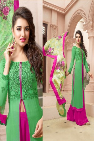 Adorable Green Georgette Heavy Embroidery on Top With Digital Printed Dupatta Salwar Kameez