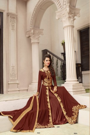 Dashing Brown Georgette Heavy Embroidery on Top and Dupatta with Lace Salwar Kameez