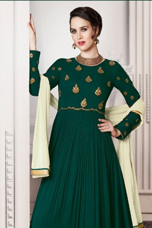 Bewitching Dark Green Faux Georgette Heavy Embroidery Kali Work With Stone Work Salwar Kameez